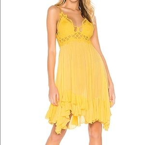 🆕 with tags Free People Adella yellow slip dress
